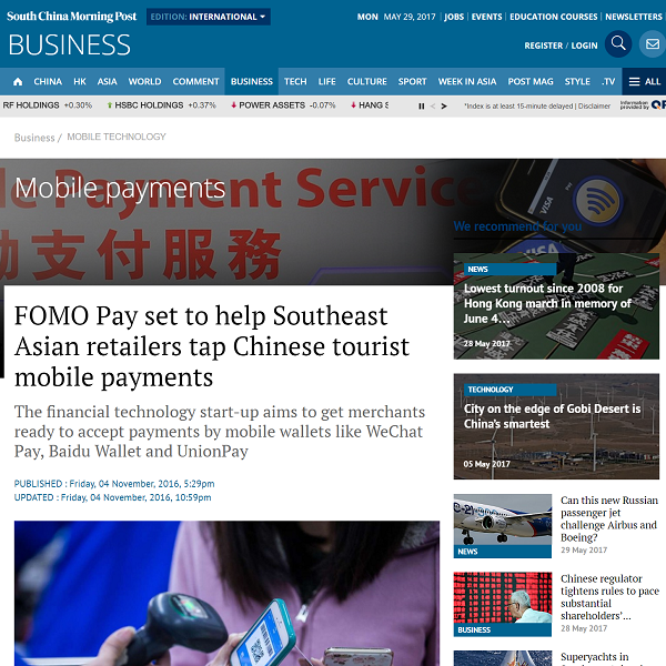 south-china-morning-post-fomo-pay-set-to-help-southeast-asian-retailers-tap-chinese-tourist-mobile-payments